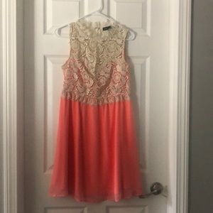 Coral and lace gold sleeveless dress